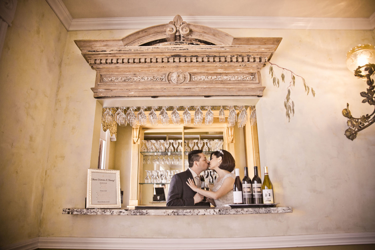 Bride & Groom in Bar at The Perry House Wedding Venue