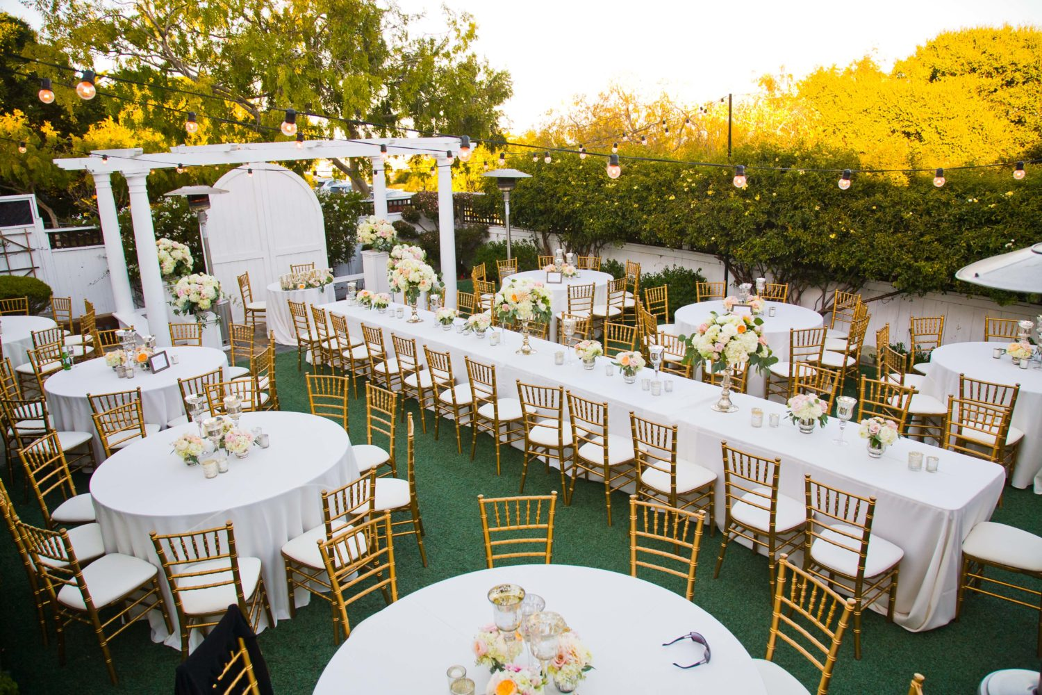 Garden Reception Table Set-up at The Perry House Wedding Venue