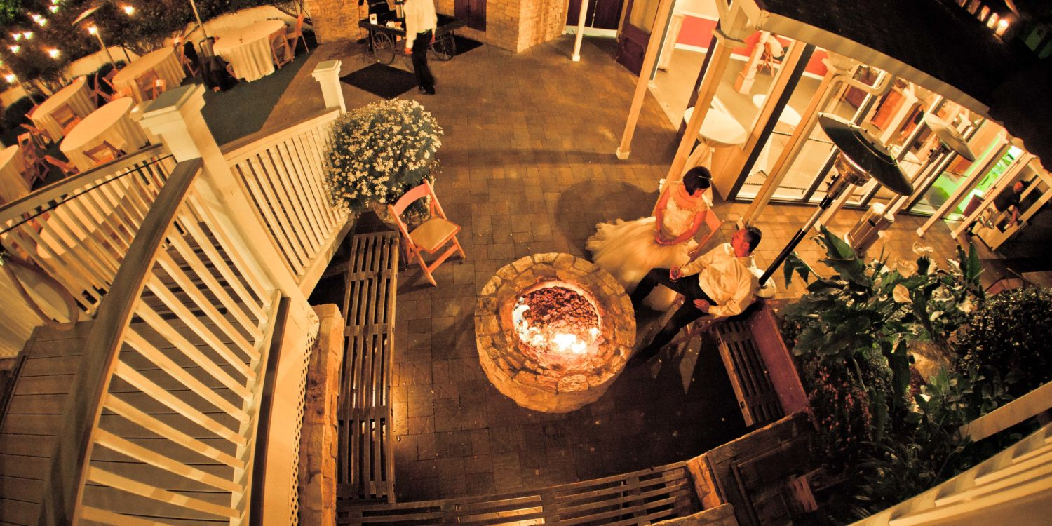 Couple at Fire Pit at The Perry House Monterey Wedding Venue