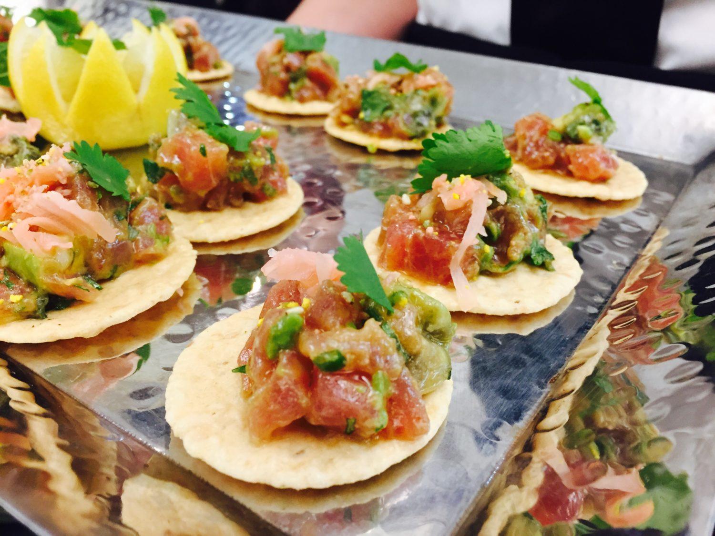 Ahi Tuna with Wasabi Soy on Rice Cracker