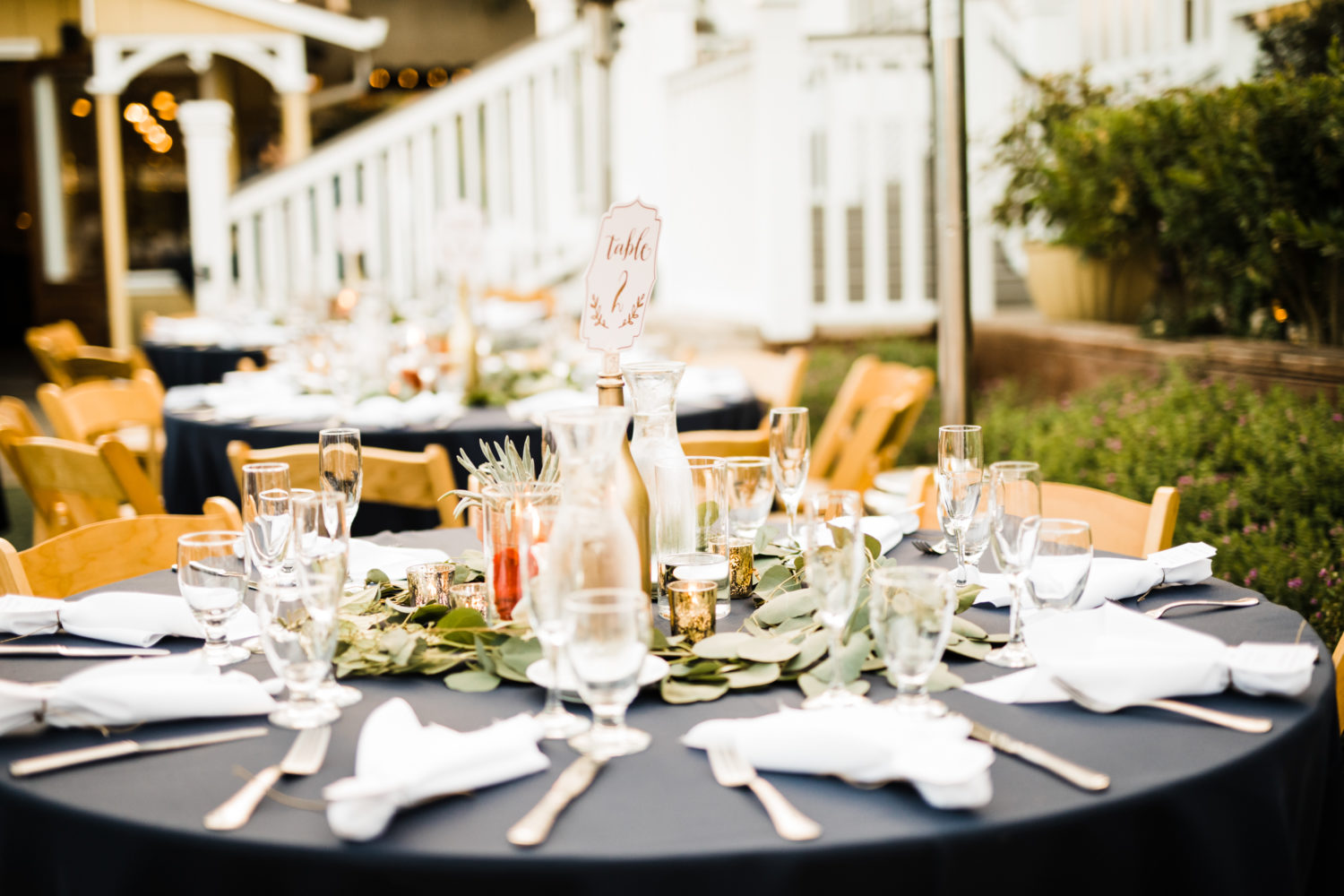 Table set-up at Perry House Monterey Wedding Venue