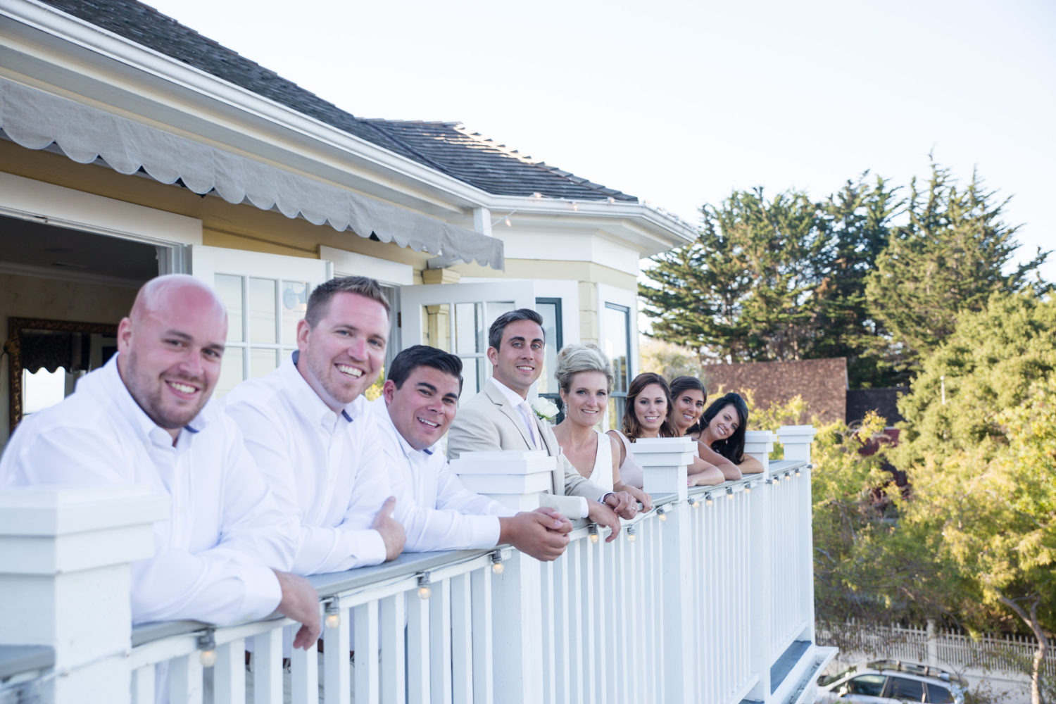 Bridal Party on Deck at Perry House Wedding Venue
