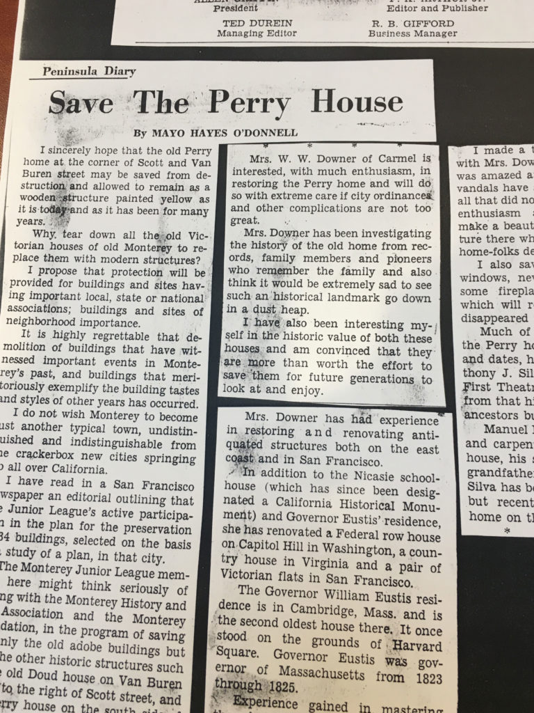 Article on Saving The Perry House - 1966