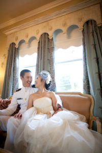 Perry House bridal suite bride and groom pose wedding dress