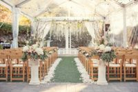 Perry House garden ceremony with clear tent