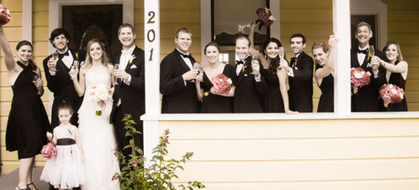 Wedding Party in front of The Perry House