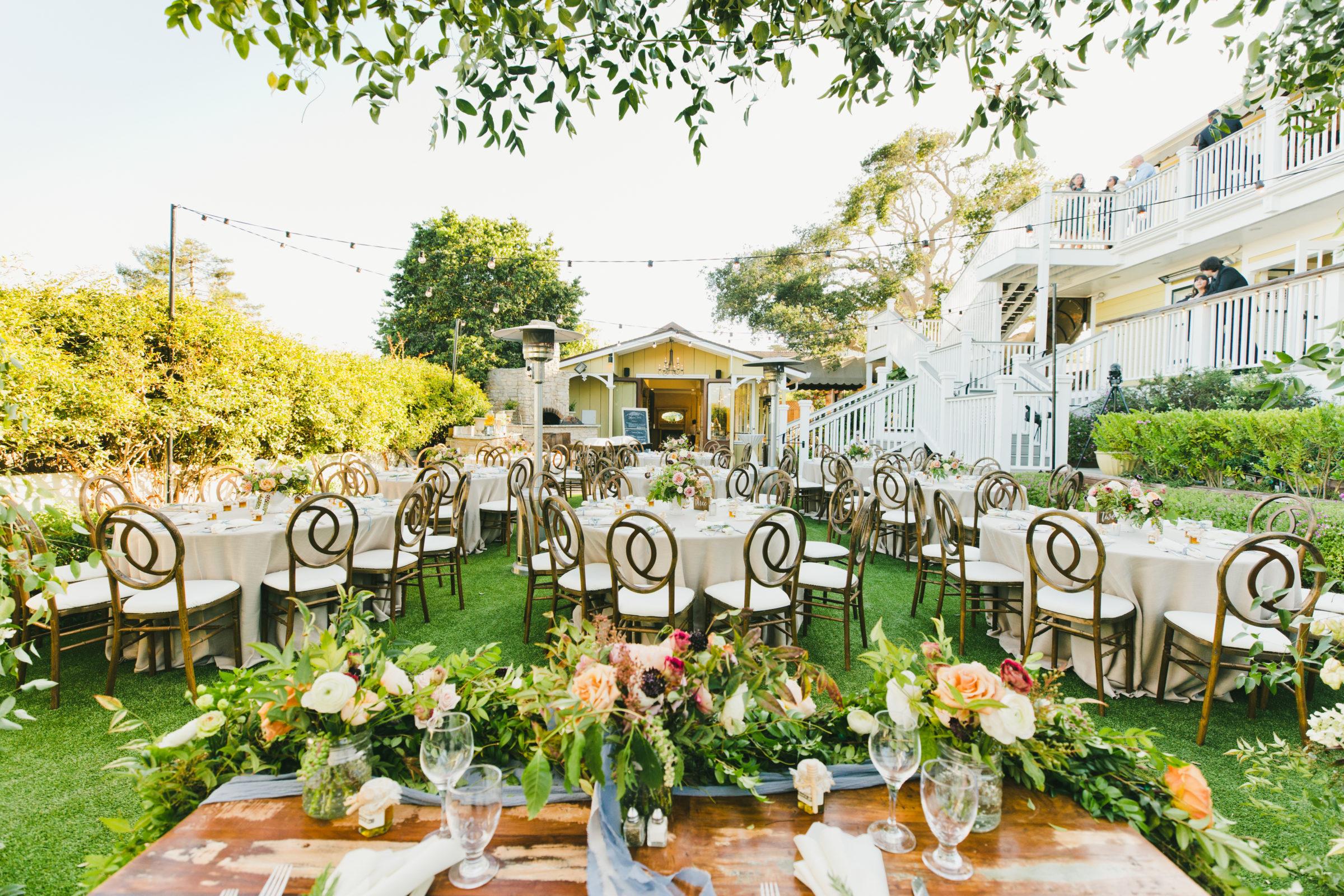 Beautiful Garden Setup Looking at Carriage House