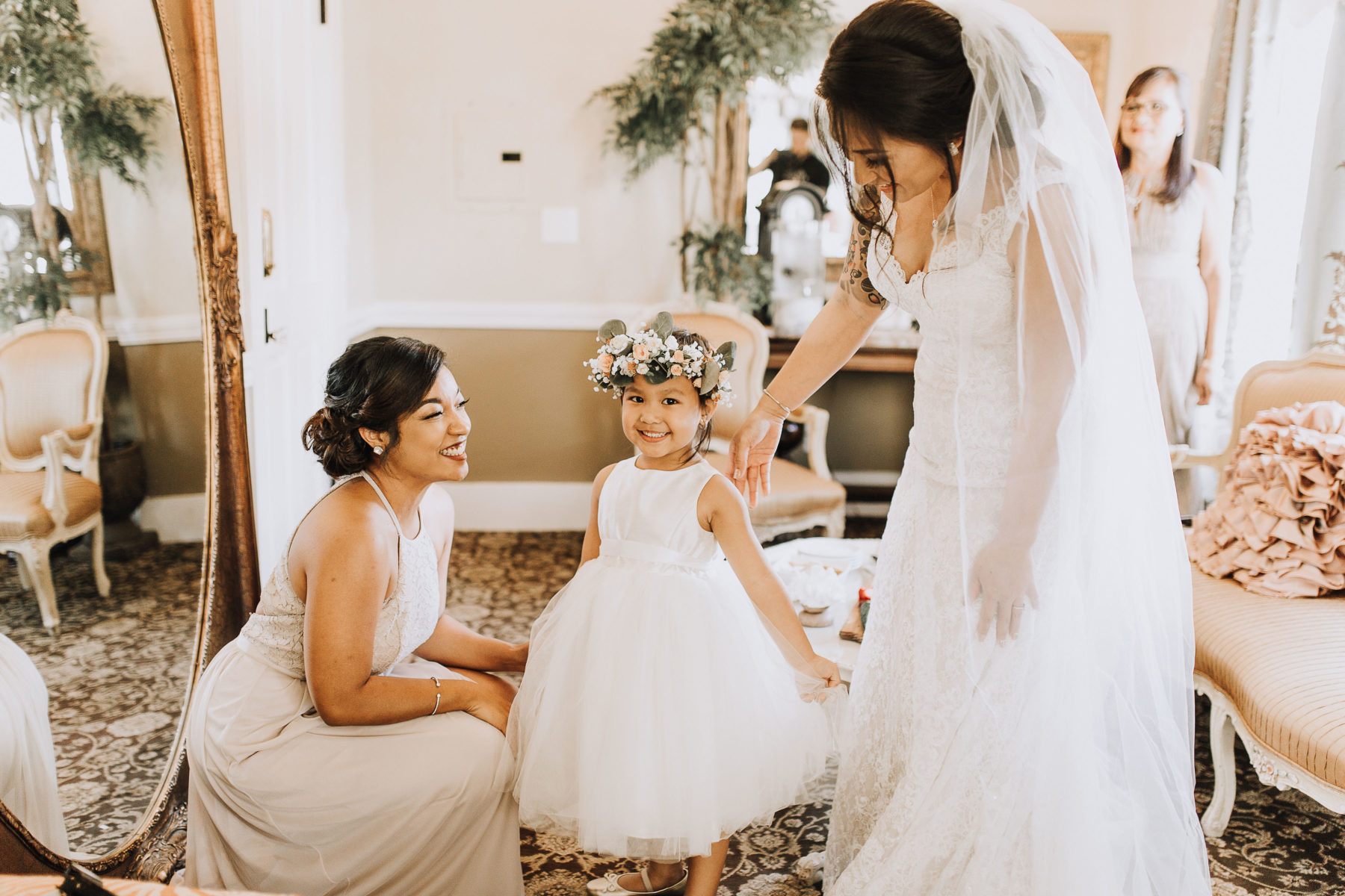 Flower Girl in Dressing Suite at The Perry House Monterey Wedding Venue