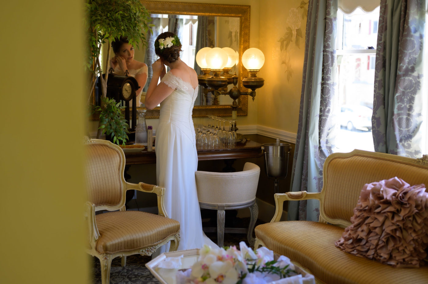 Bride getting ready at Perry House